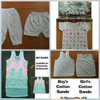 Baby onesies, sando, shirt, pambahay / pantulog, pajama and short