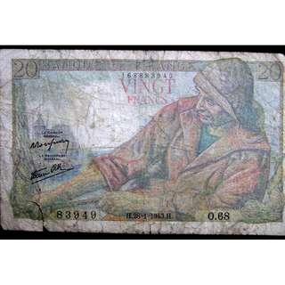1943年法蘭西銀行(Bank of France)漁民家庭20法郎鈔票(傀儡政權時期)