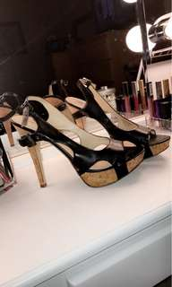 Guess Heels - Size 8, Black and Wood