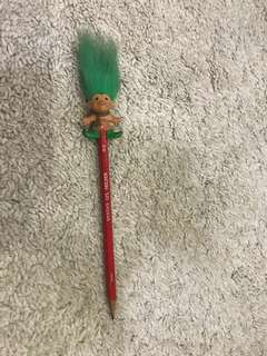 Vintage collector 90's Troll Christmas Pencil