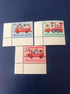 聯合國 兒童郵票 汽車 3全