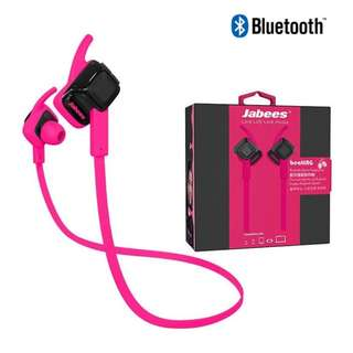 Jabees Beating 藍牙4.1 運動防水 耳塞式 無線藍牙耳機 in-ear Bluetooth Wireless Earphone Headphone for iPhone Android - 粉紅