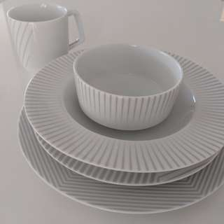 Salt and Pepper Dining Plates and Cups 12people