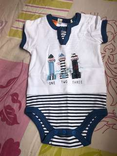 Baby Romper with lighthouse patchwork
