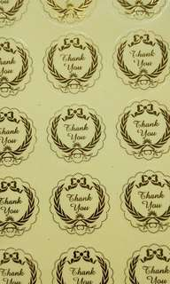 50pcs clear gold thank you stickers