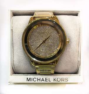 Michael Kors Gold Kinley Tone Crystal Pave Bling Luxury New Watch