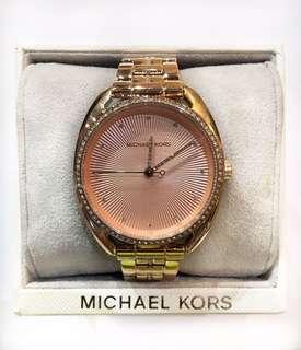 Michael Kors 'Libby' Rose Goldtone Crystal Pave Link Bracelet Watch