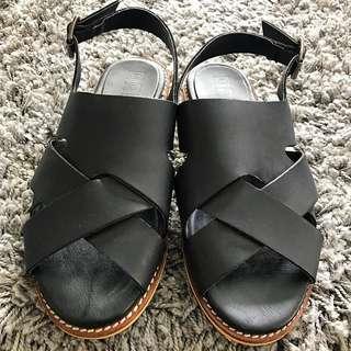 Black Leather Flat Sandals