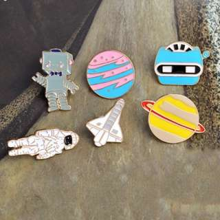 #127 EXCLUSICE DISCOUNT SET planet robot space astronaunt tumblr enamel pin | po