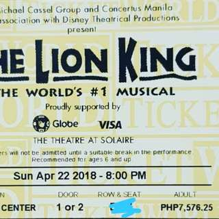 Lion king, 10 tickets