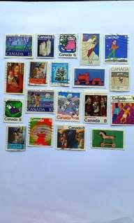 20個 加拿大🌎郵票 (Christmas-Noel篇) - 已蓋銷