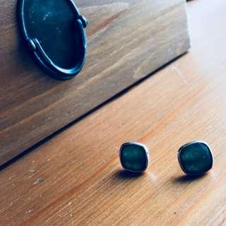 純銀包鑲玉石耳環