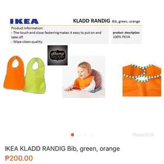 IKEA KLADD RANDIG Bib, green, orange