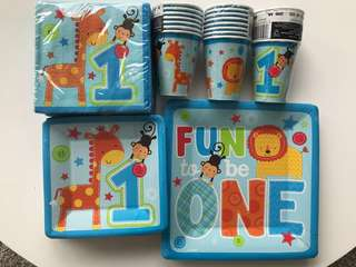 Wild boy birthday party disposable plates, cups, napkins