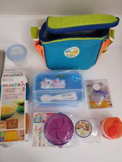 Assorted babies feeding accessories