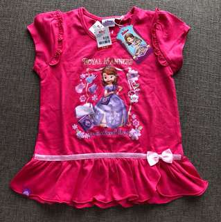 BNWT Sofia the First Girls top 3-4 yo