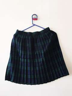 Plaid Blue and Green Pleated Skirt