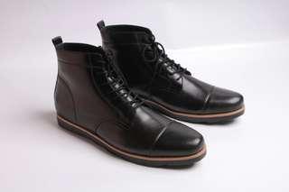 Sepatu Boots Pria Kulit Asli Semi Formal Boston Cardiff Oregon Hitam