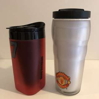 Manchester United official glass tumbler (red one for RM60, white one for RM30)
