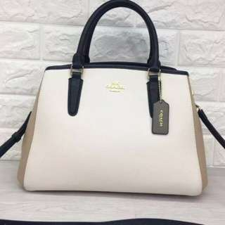 Coach top handle bag in classic gold/dirty white
