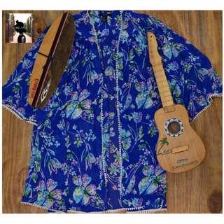 Royal Blue, Floral Kimono (Forever 21)