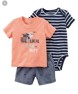 BN Carters Baby Boy Surf 3 Piece Romper Set 18mths avail!