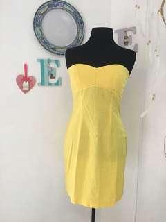 Yellow Cotton Tube Dress