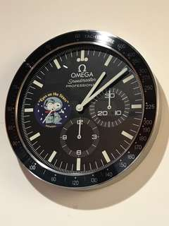 全新 掛牆鐘 Clock OMEGA speedmaster professional SNOOPY 非賣品 展示品