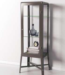 FABRIKÖR 玻璃門櫃 深灰色 IKEA 展示櫃