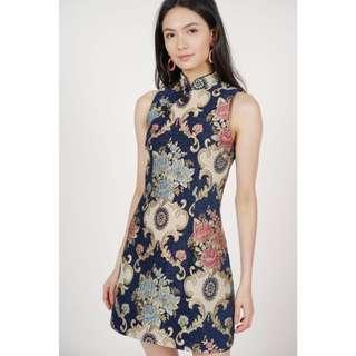 MDS - CAMELLIA CHEONGSAM DRESS (NAVY) XS