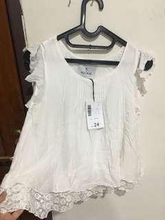blouse tanpa lengan white putih