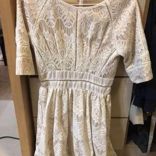 白色 蕾絲 小洋裝