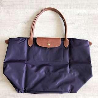 Longchamp dark purple tote bag
