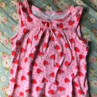 🚚 二手H&M 💟女童粉色草莓🍓無袖上衣