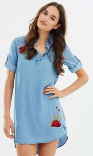 Embroidered over sized denim dress