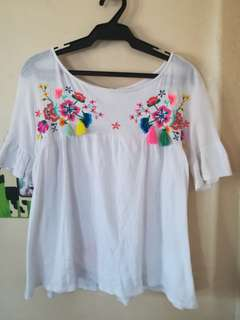 Zara floral embroidered top (currently reserved)