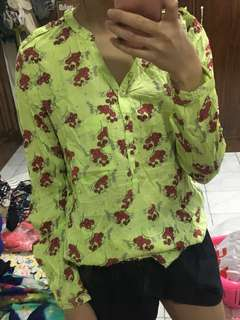 blouse hijau neon