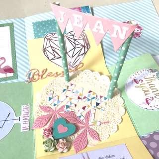 Farewell flamingo pastel farewell theme Explosion Box Card