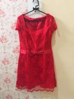 Dress Merah JAHIT SENDIRI