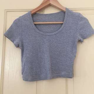 (S) American Apparel grey crop tee
