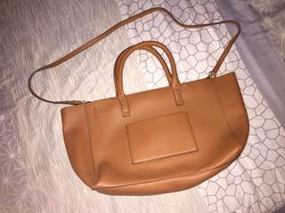 Brown leatherette bag