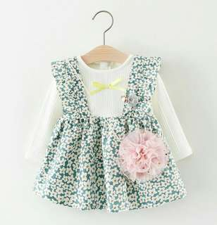 Cotton long sleeved blouse with floral sundress