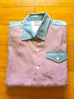 全新 千鳥格襯衫 七分袖襯衫