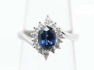 天然蓝宝石钻石铂金戒指💍