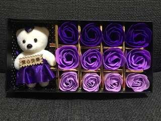Rose Box Flower Soup 12 Stalks with Teddy Bear
