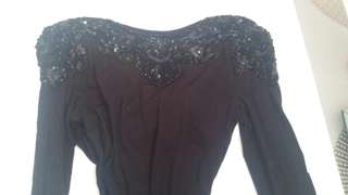 Black beaded long sleeve open cross back bodysuit