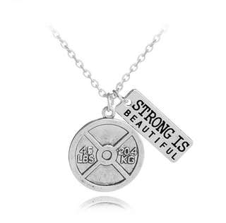 Gym Barbell Plate Fitness Necklace - Strong is Beautiful