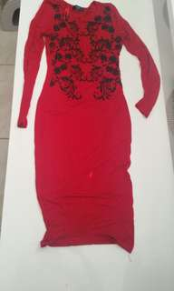 Red long sleeve stretchy midi dress with black beading