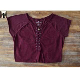 Maroon, Short-Sleeved Top (American Eagle Outfitters)