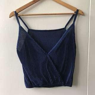 Blue Silk Sleeveless Top